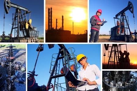 Workers in an Oilfield, split screen