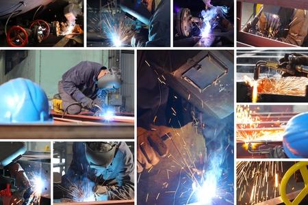 Welder at work in metal industry, split screen