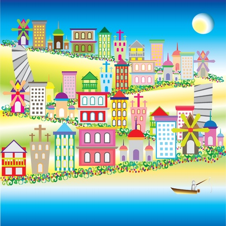 illustration of city on the green glass hill