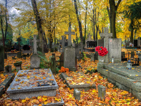 Warsaw, Poland - October 27, 2015: Autumn on the old, monumental, Orthodox cemetery
