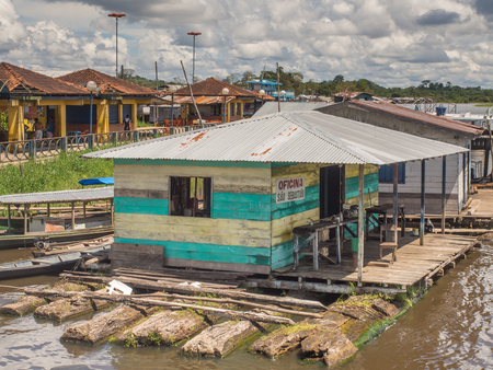 Benjamin Constant, Brazil - May 10, 2016: Floating houses on Amazon River.
