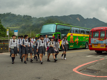 Shifen, Taiwan - October 05, 2016: The Taiwanese youths on a scholl  trip.