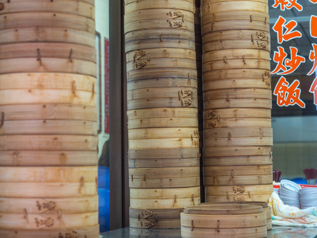 Tainan, Taiwan - October 11, 2016: A bunch of  bamboo plates in a street bar in Taiwan