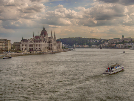 Budapest, Hungary: Hungarian Parliament Building by the bank of Danube River. Largest building in Hungary and the tallest building in Budapest