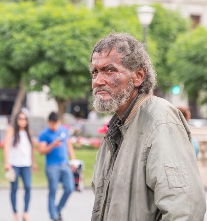 Lima, Peru -Dec 07, 2018: Portrait of oeruvian man on  the street of Lima, South America. Latin America