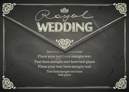 Illustration pour Vintage Wedding frames and border. Easy to use. Chalkboard design - image libre de droit