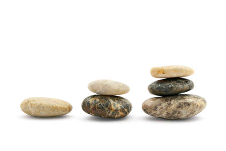 Stairs of stones representing growth, isolated on white
