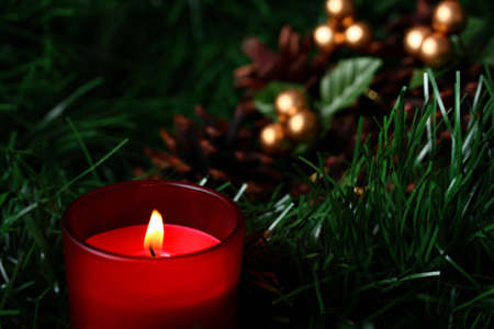 Burning candle in front of cones placed on green fir with copy space