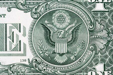 Photo pour Eagle macro close-up on a US 1 dollar banknote. Detail of one dollar bill - image libre de droit