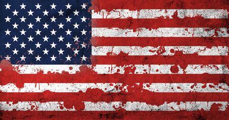 Foto de American flag with blood stains. USA national flag with blood splatters. Old retro grunge vintage style texture. Large image. - Imagen libre de derechos
