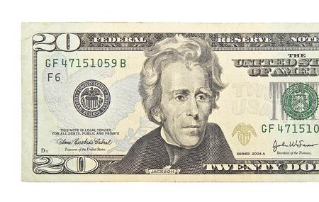 Photo pour Twenty dollars isolated on white background - image libre de droit