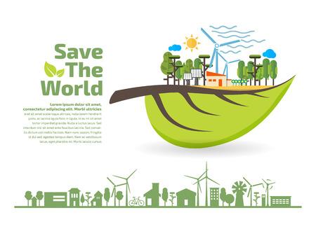 Illustration pour Eco Friendly, green energy concept, save the world vector illustration, flat design - image libre de droit