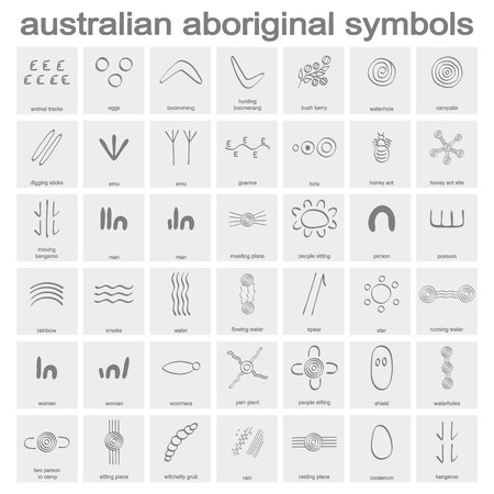 Illustration pour monochrome icon set with australian aboriginal symbols for your design - image libre de droit