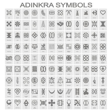Illustration pour set of monochrome icons with adinkra symbols for your design - image libre de droit