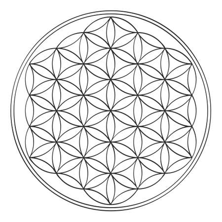 Illustration for vector icon with ancient symbol flower of life - Royalty Free Image