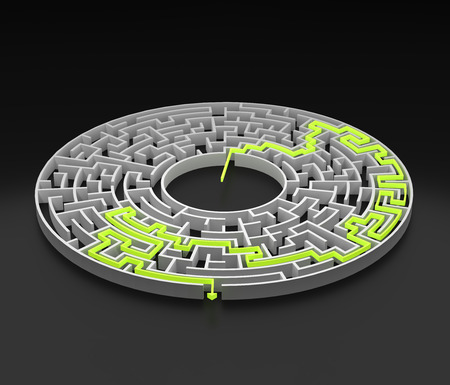 Photo for 3d rendering circular maze with solution. - Royalty Free Image