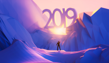 Foto de 3d illustration upcoming 2019 new year concept. - Imagen libre de derechos