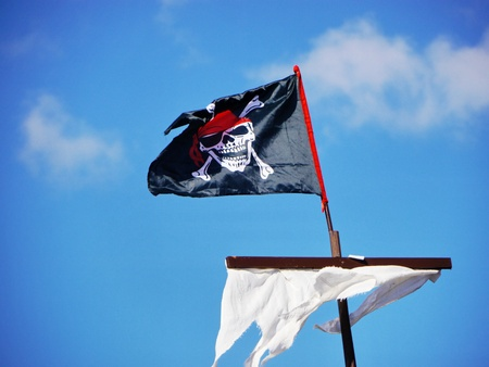 Jolly Roger skull and crossbones black pirate flag