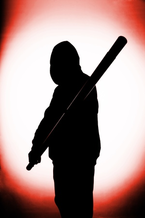 Close up of a violent mens silhouette