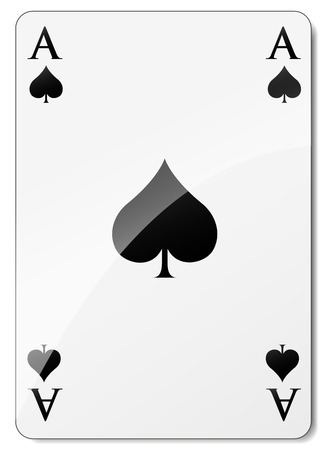Vector illustration of ace of spades on white background