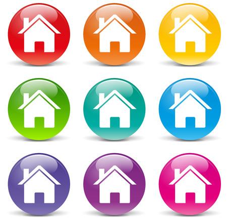 illustration of home set icons on white background
