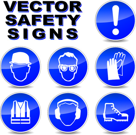 illustration of safety signs on white background