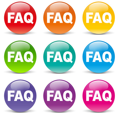 Vector illustration of colorful faq icons on white background