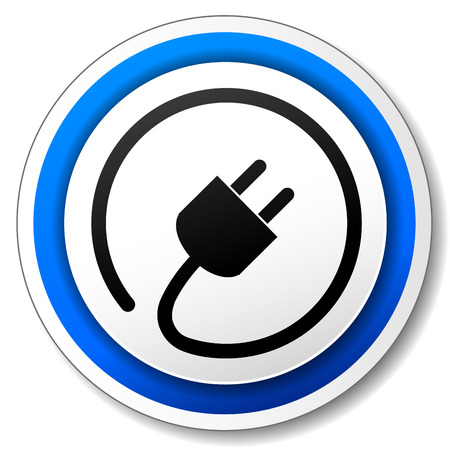 Vector illustration of black and blue electric icon