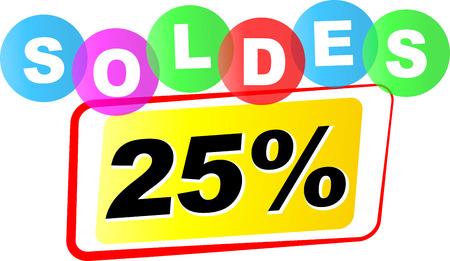 Vector illustration of twenty five percent sale icon on white background