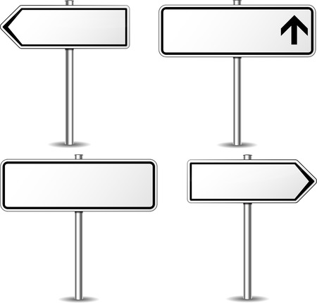 Vector illustration of white blank signpost set