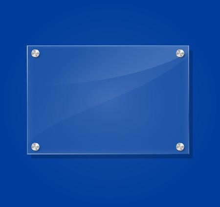 Vector illustration of transparent frame on blue background