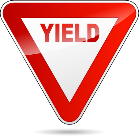 Illustration of yield sign on white background