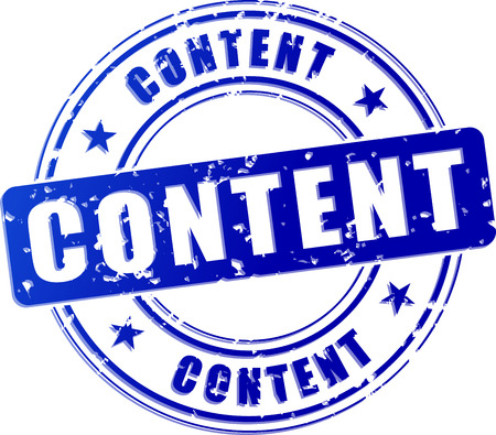 illustration of content blue stamp icon concept