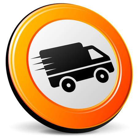 Illustration pour illustration of van 3d design orange icon - image libre de droit