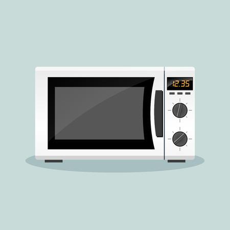 Illustrazione per Illustration of microwave oven flat design concept - Immagini Royalty Free