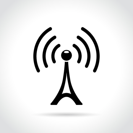 Ilustración de Illustration of broadcast tower icon on white background - Imagen libre de derechos
