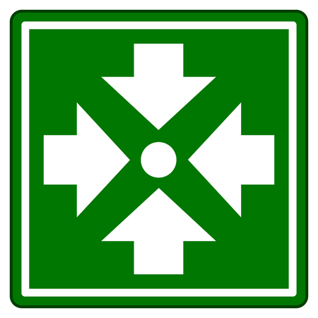 Illustration pour Illustration of assembly point green sign - image libre de droit