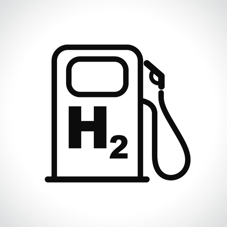 Illustration pour Illustration of hydrogen car station icon on white background - image libre de droit