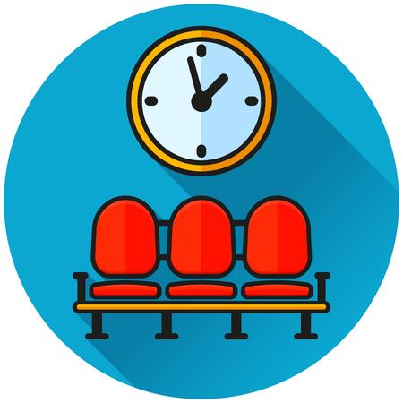 Illustration pour Illustration of waiting area circle blue icon - image libre de droit