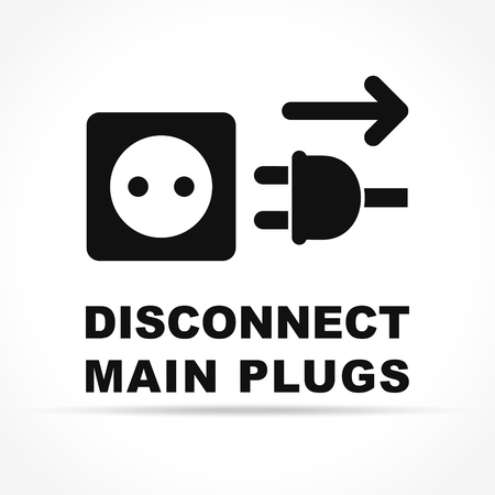Illustration of disconnect main plugs icon concept
