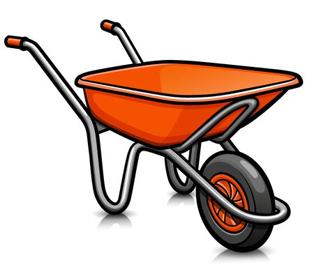 Illustration for Vector illustration of whellbarrow cartoon icon isolated - Royalty Free Image