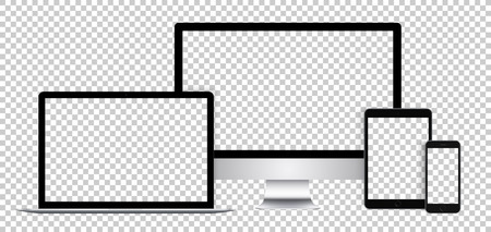 Illustration pour Realistic set of electronic devices, black display, laptop, tablet and phone with empty screen. - image libre de droit