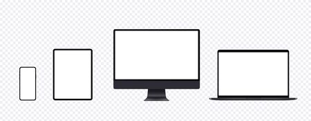 Illustration pour Realistic computer mockup set with desktop, laptop, tablet and smartphone. Black electronic device set in front view, pc screen, open notebook, pad and mobile phone display. - image libre de droit