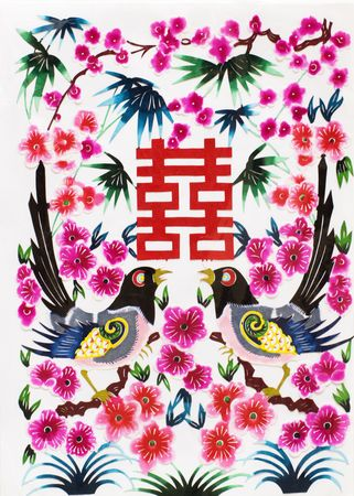 This is a picture of chinese paper cutting.This is Chinese characters,is a happy, happy mean.