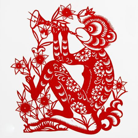 monkey,This paper-cut shows the monkey, is one of the Chinese Zodiac.