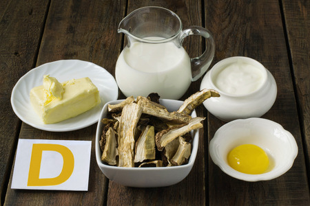 Ingredients rich in vitamin D: butter, cream, egg yolk, sour cream, dried porcini mushrooms