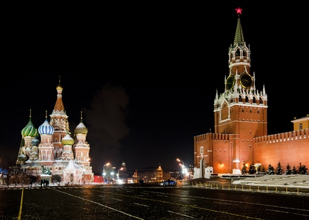 Night view of Moscow Red Square, St Basil Temple and Spasskaya Tower of Kremlin