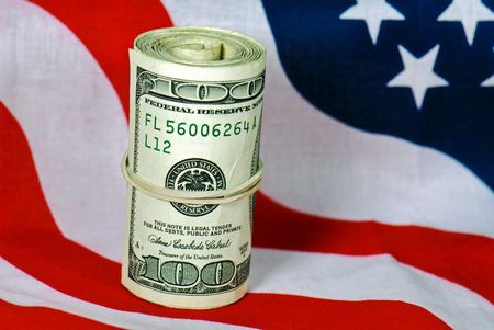 Bankroll on the American flag.