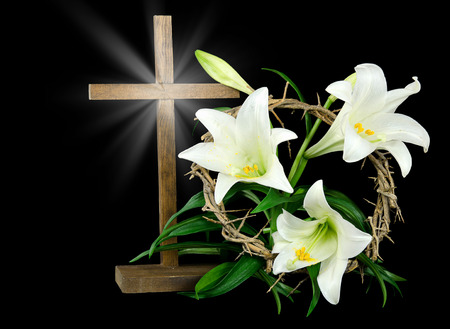 Easter lilies with cross and crown of thorns