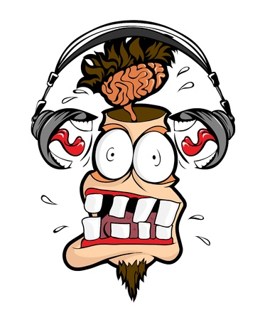 Headphones man shout loudly in my head.